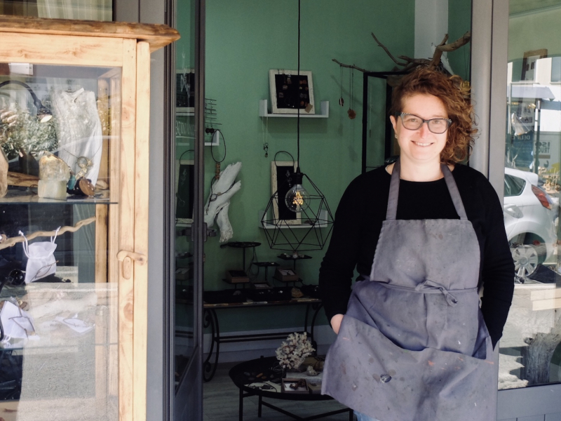 Irina Leoncini in front of her workshop and shop